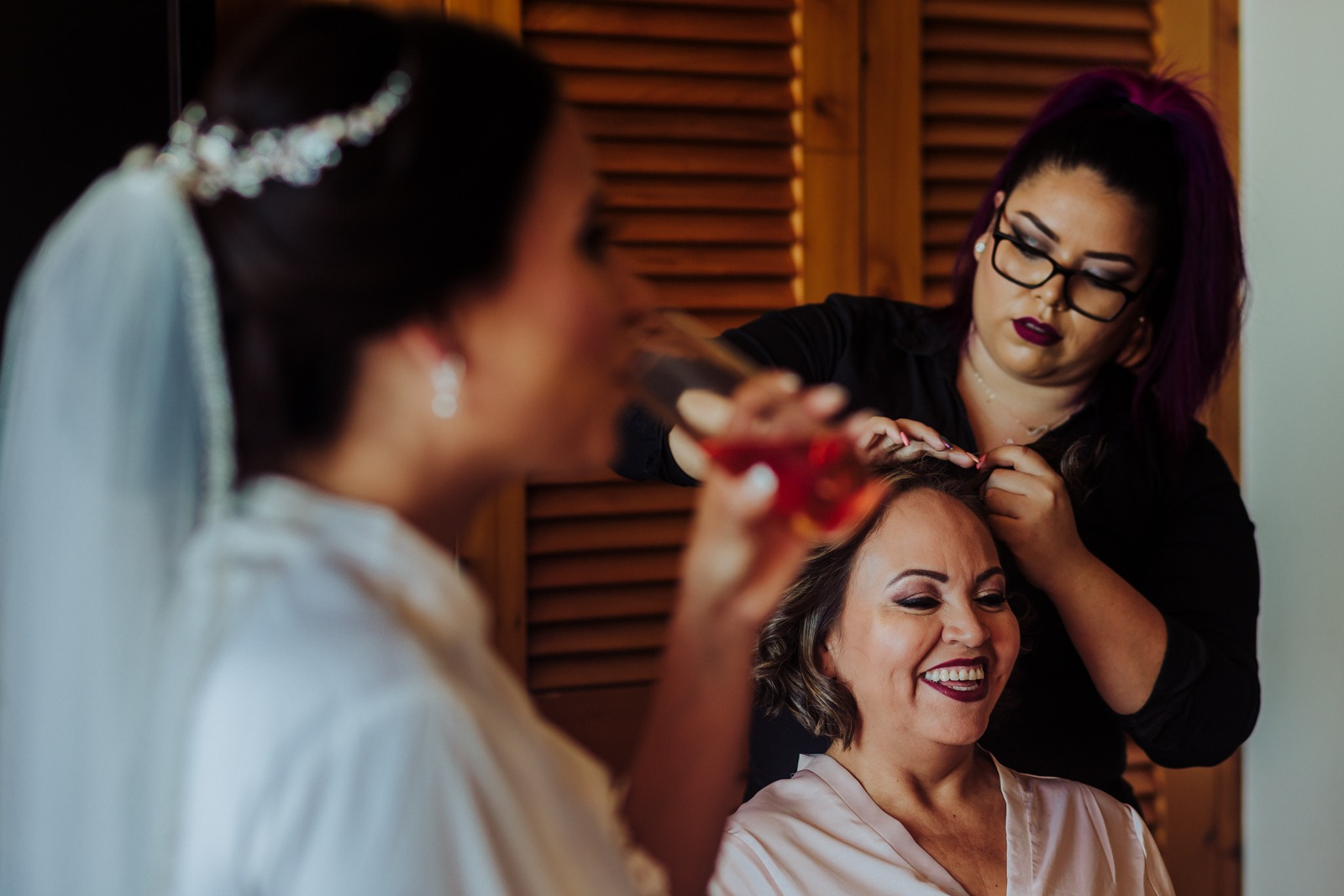 ready-getting ready-mum-bride-smile-drink-hair-hairstyle-wedding